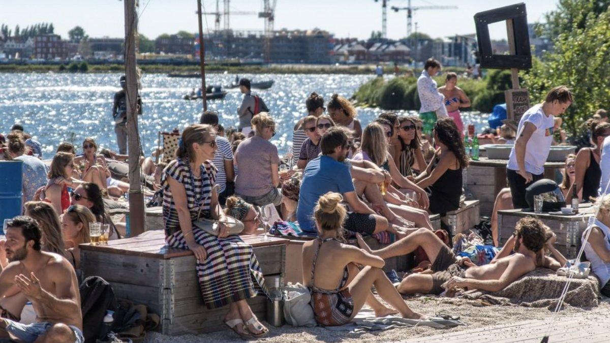 terras, Amsterdam, zomer, water, vakantie